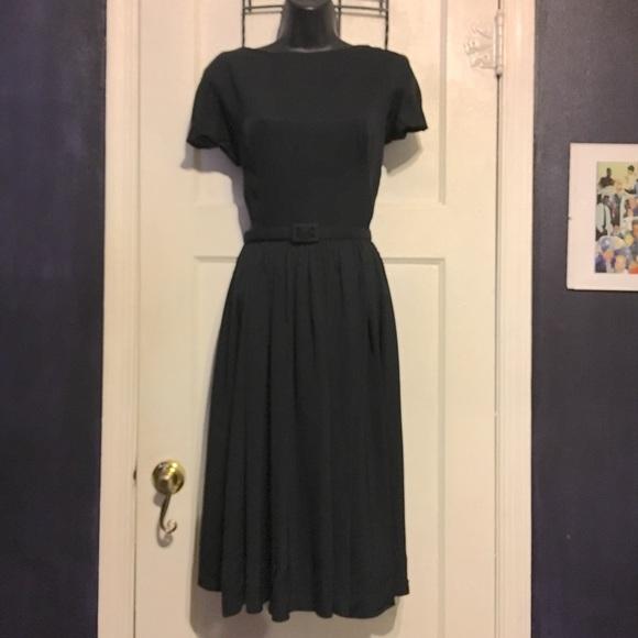 Vintage Dresses & Skirts - Vintage Black Dress with Full skirt